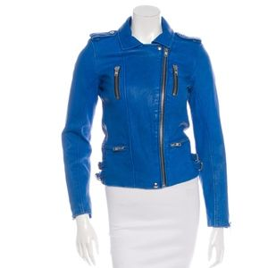 Iro Anabela Blue Leather Moto Jacket